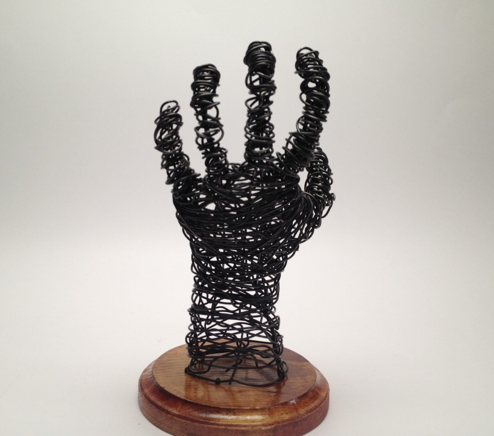 Wire Sculpture Hand Back - Frank Marino Baker - Drip & Wire Art