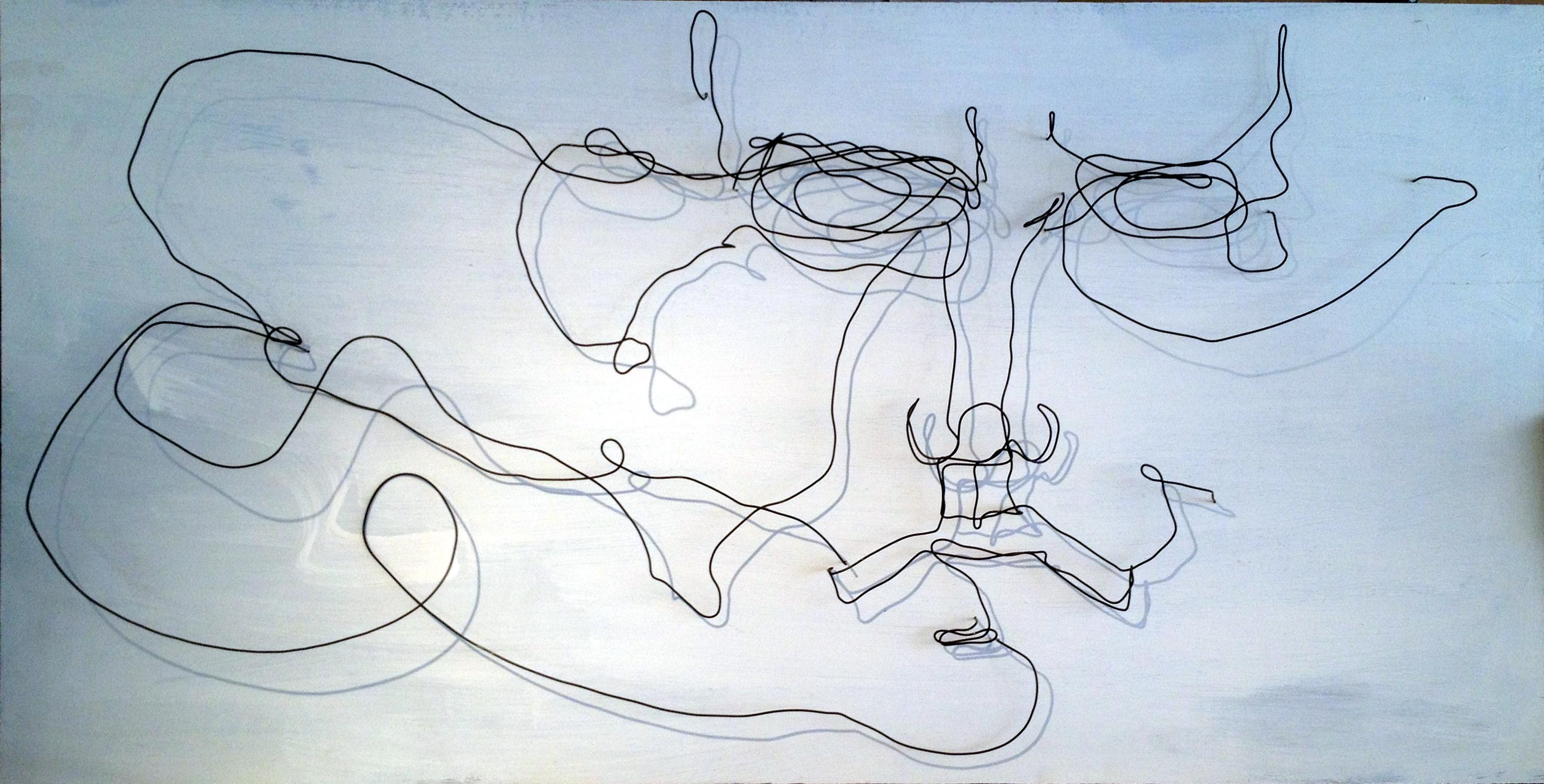 Wire Sculpture Face Floward - Frank Marino Baker - Drip & Wire Art