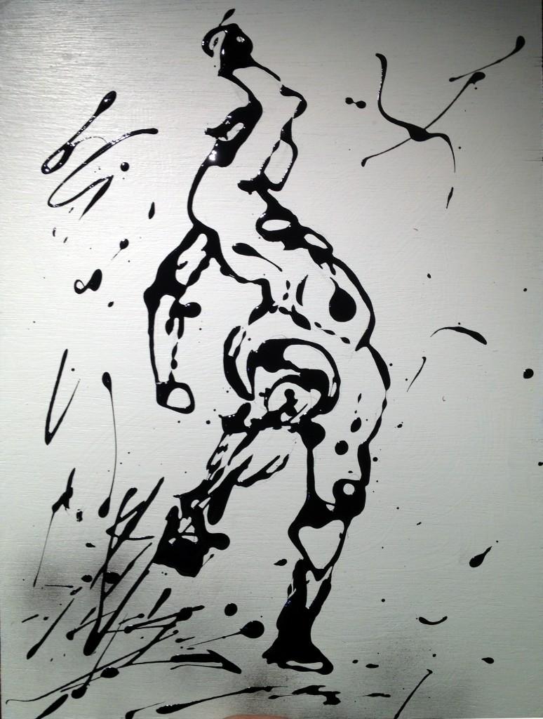 Drip painting Woman dancing by Frank marino Baker