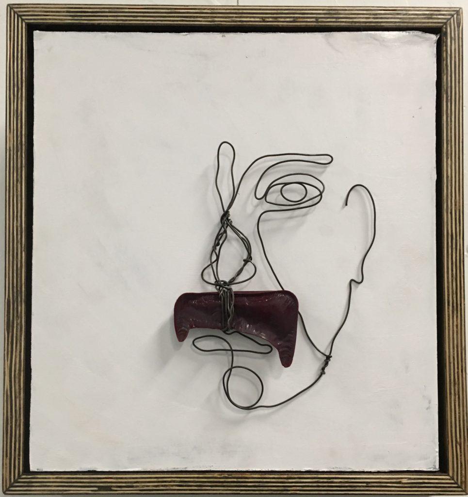 Face 12 Wire Art sculpture by Frank Marino Baker